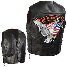 Man's Genuine Leather Motorcycle Vest by Diamond Plate™ - Biker - Eagle Patch