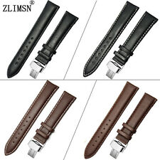 Mens Womens Vintage Genuine Leather Watch Band Strap Belt Stainless Steel Buckle