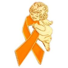 Orange Ribbon Awareness Pin Guardian Angel Many Cancer Causes Kidney Leukemia