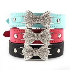 Bling Crystal Dog Cat Collar Bow Leather Pet Adjustable Collar Puppy Cat Choker