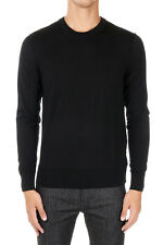 DOLCE&GABBANA New Men Black Round neck Sweater Pullover Virgin Wool Made Italy