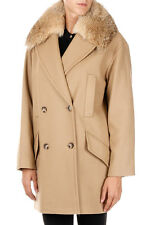 MICHAEL KORS New woman Beige Coat Wool blend With real coyote fur Details NWT