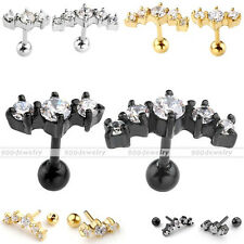 16G 3 Clear CZ + Crescent 5 CZ Steel Bar Ear Tragus Cartilage Helix Stud Earring