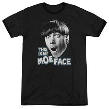 Three Stooges Moe Face Mens Adult Heather Ringer Shirt