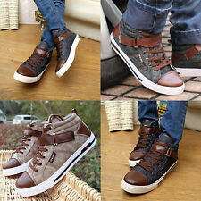 Men Casual Fashion Breathable Canvas Board Shoes Casual High Top Sneaker Lace Up