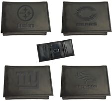 Choose Your NFL Football Team Logo Embossed Black Leather Tri-Fold Wallet by TSA