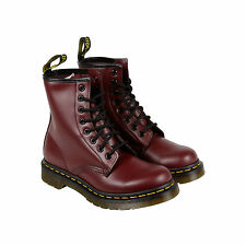 Dr. Martens 1460 8-Eye Womens Red Leather Casual Dress Lace Up Boots Shoes