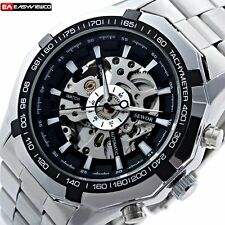 Automatic Steampunk Stainless Steel Mechanical Wrist Skeleton Watch Sport Mens
