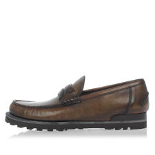 DOLCE&GABBANA New Men Brown Leather slip on Loafer Shoes Made in Italy