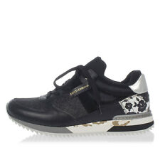 DOLCE&GABBANA New Woman Black glitter Sneakers shoes Leather Made In Italy