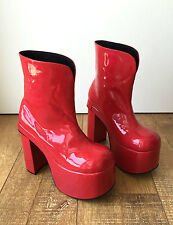 Handmade Japan Gothic Visual Kei Punk Patent Shiny PVC Slip On Vegan Calf Boot