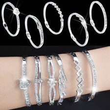 Women Ladies Crystal Rhinestone Silver Plated Bangle Cuff Bracelet Charm Jewelry