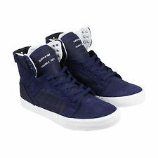Supra Skytop Mens Blue Leather High Top Lace Up Sneakers Shoes