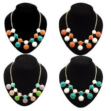 Hot Selling Gold Plated Alloy Colorful Candy Resin Round Bib Geometry Necklace