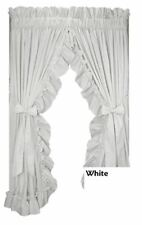 """Priscilla Country Ruffle Curtain Pair with Tie Backs 86"""" x45"""" White"""
