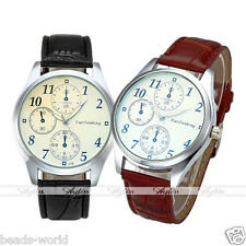 Elegant Men's Arabic Number Three Fake Small Dial Leather Band Quartz Watch Left