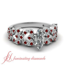 1 Ct Marquise Cut Diamond & Ruby 14K Gold Engagement Ring Micro Pave Set SI2 GIA