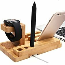 Wood Charging Docking Station Charger Stand Holder For Apple Watch iPhone iPad