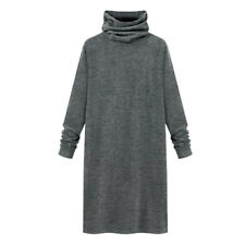 Women Turtle Neck Long Sleeves Loose Tunic Dress