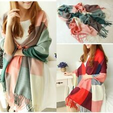 Warm Winter Women Long Cashmere Wool Scarf Large Shawl Plaid Scarf