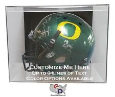 Custom Full Sized Helmet Display Case Acrylic Wall Mount Create Your Own Text