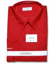 Covona Men's Solid Red Color Dress Shirt w/ Convertible Cuffs sz 15 1/2 34/35
