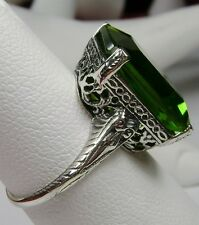 10ct *Peridot* Sterling Silver Victorian Design Etch Filigree Ring Size: Any/MTO