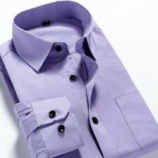 New Mens Long Sleeve Square Collar Solid Slim Business Casual Dress Shirt 38-44