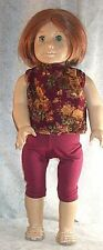 """Doll Clothes fits American Girl 18"""" inch Leggings Flowers Burgundy Yellow NEW"""