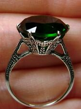 5ct *Green Emerald* Sterling Silver Edwardian c. 1910 Filigree Ring Size: CUSTOM