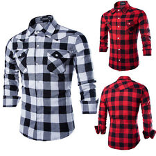 Mens Casual Plaid Shirt Stylish Slim Fit Long Sleeve Casual Dress Shirt New