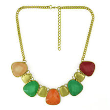 Latest Design Women Gold Plated Color Optional Resin Geometry Drop Bib Necklace
