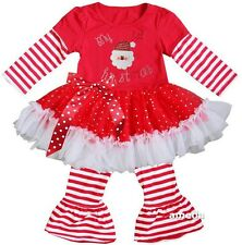 Rhinestone 1st Christmas Little Santa Red White Stripes Ruffled Top Pants Outfit