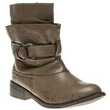 New Womens Rocket Dog Tan Garnet Synthetic Boots Ankle Buckle Zip