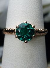 .7ct Natural Emerald Sterling Silver & Rose Gold Filigree Ring {(MTO)} Size Any