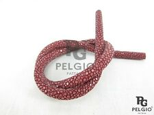 PELGIO Genuine Polished Stingray Skin Leather Bracelet Necklace Cord Burgundy