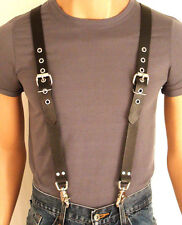 LEATHER SUSPENDERS BRACES Genuine LEATHER Biker PUNK Hand Crafted  U.S. gay int