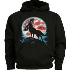 Lone wolf howling at the moon sweatshirt USA sweat shirt hoodie American flag