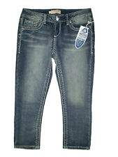 Seven 7 Premium Blue Knit Stretch Denim Capris Cropped Jeans Size 4 New $74