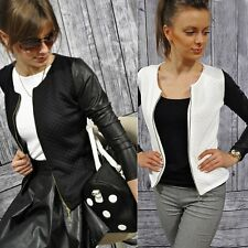 Western Style Women Slim Splice Leather Jacket Biker Motorcycle Coat Jacket YXF0