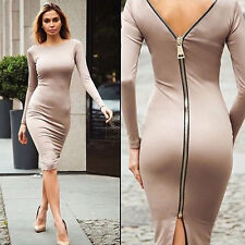 Women Sexy Back With Zipper Bodycon Dresses Night Clubwear Cocktail Knit Dress