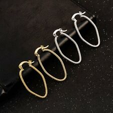 Fashion Lucky Yellow White Gold Filled Scrub Hoop Earrings Oval Earings Lot
