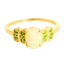 Ethiopian opal Chrome Diopside Wedding Ring in 9 kt Solid Yellow Gold