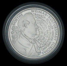 SILVER COMMEMORATIVE COINS 1999: $10 GOETHE / WEIMAR MINT GLOSS PP