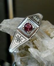 Edwardian/Art Deco *Ruby* Sterling Silver Filigree Ring Size: {Made To Order}