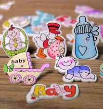 Cartoon Baby Series Wooden Buttons Feeding bottle Baby carriages Mixed