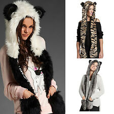 Fashion M Faux Fur Animal Hoodie with ears paws Hat Pocket Spirit Scarf Hat Hot