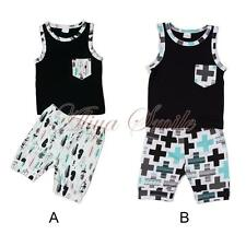 2016 Summer Baby Boys Girls Kids Tops Vest+ Shorts Pants Bottoms Toddler Clothes