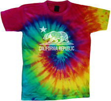 California tie dye shirt for men california bear flag tie dyed tee shirt men's