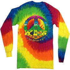 420 weed Tie dye shirt for men funny pot cannabis peace tie dyed tee shirt